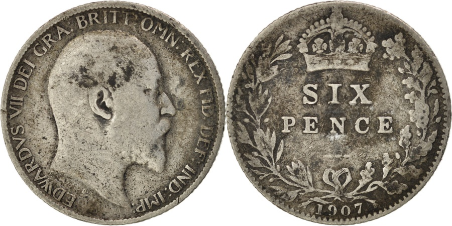 World Coins - GREAT BRITAIN, 6 Pence, 1907, KM #799, , Silver, 19.5, 2.76