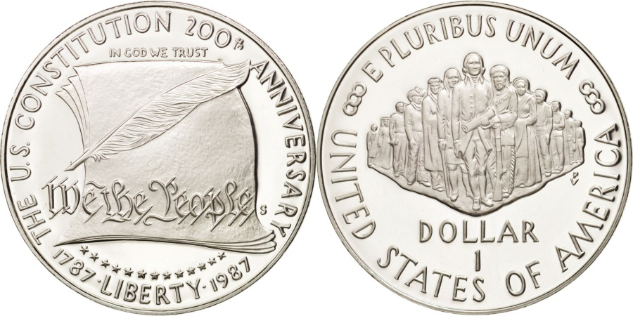 US Coins - United States, Dollar, 1987, San Francisco, US Constitution, Silver, KM:220