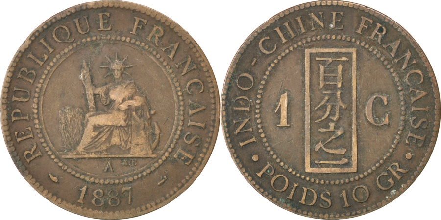 World Coins - FRENCH INDO-CHINA, Cent, 1887, Paris, KM #1, , Bronze, 31, Lecompte...