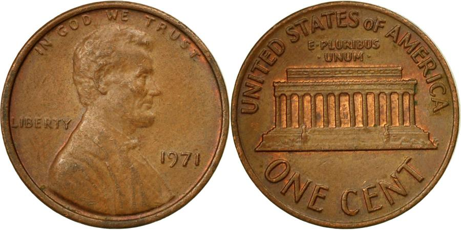 US Coins - Coin, United States, Lincoln Cent, Cent, 1971, U.S. Mint, Philadelphia