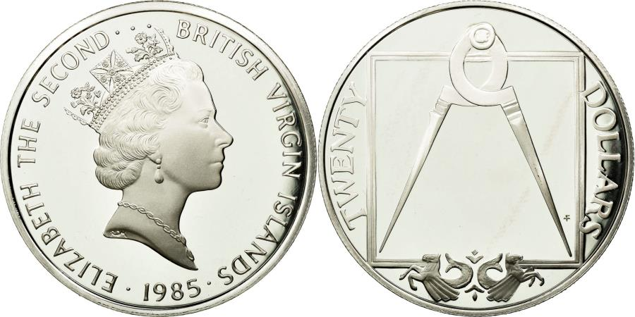 World Coins - Coin, BRITISH VIRGIN ISLANDS, Elizabeth II, 20 Dollars, 1985, Franklin Mint