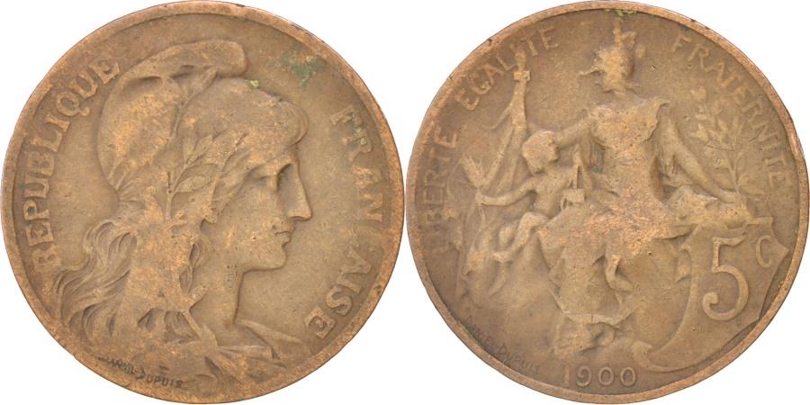 World Coins - FRANCE, Dupuis, 5 Centimes, 1900, Paris, KM #842, , Bronze, 25.1,...