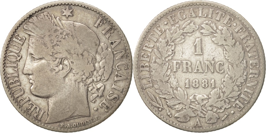 World Coins - France, Cérès, Franc, 1881, Paris, , Silver, KM:822.1, Gadoury:465a