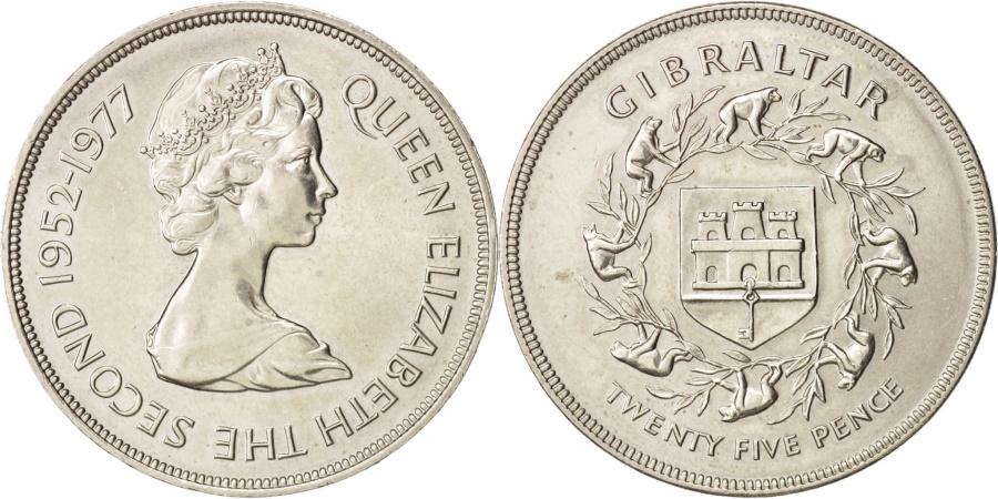 World Coins - Gibraltar, Elizabeth II, 25 New Pence, 1977, , Copper-nickel, KM:10