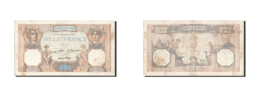 World Coins - France, 1000 Francs, 1 000 F 1927-1940 ''Cérès et Mercure'', 1931, KM #79a, 1...