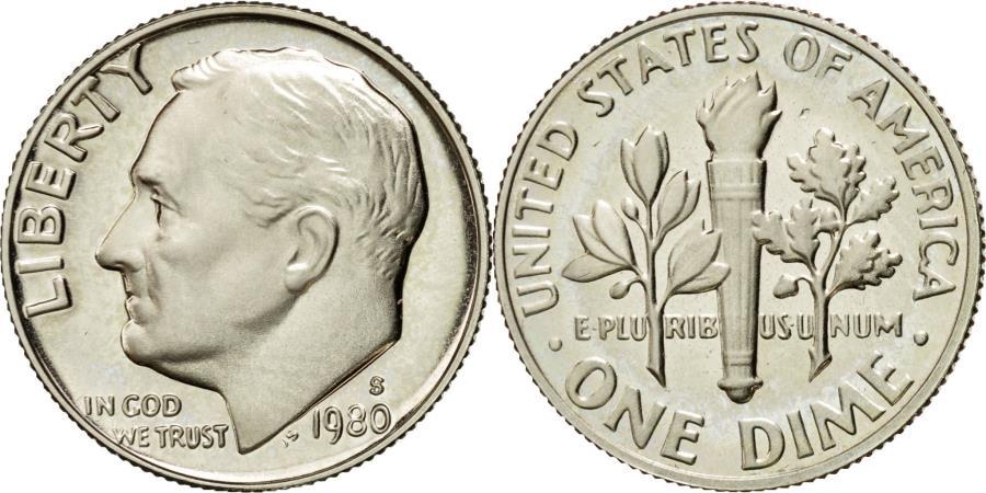 US Coins - Coin, United States, Roosevelt Dime, Dime, 1980, U.S. Mint, San Francisco