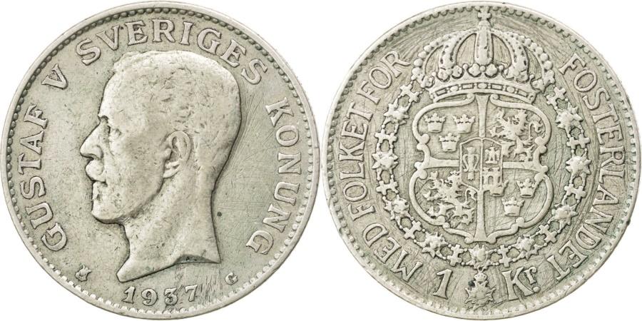 World Coins - SWEDEN, Krona, 1937, KM #786.2, , Silver, 25, 7.72