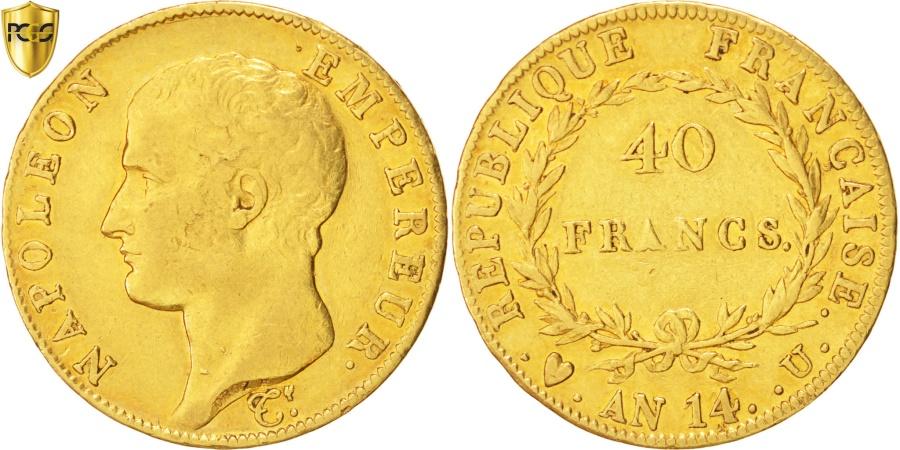 France napoleon i 40 francs 1806 torino gold pcgs for Coin torino