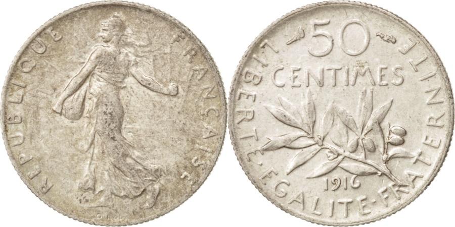World Coins - France, Semeuse, 50 Centimes, 1916, Paris, , Silver, KM:854