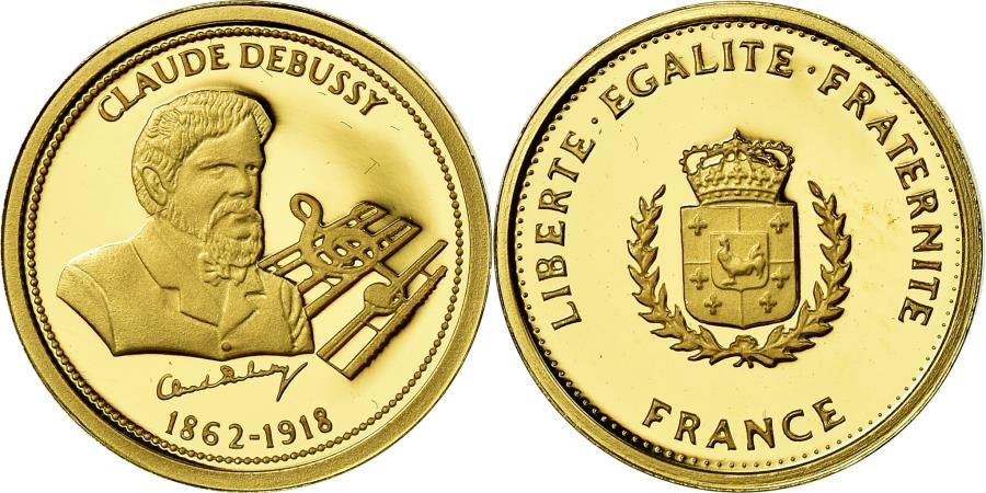 World Coins - France, Medal, Musique, Claude Debussy, Arts & Culture, , Gold