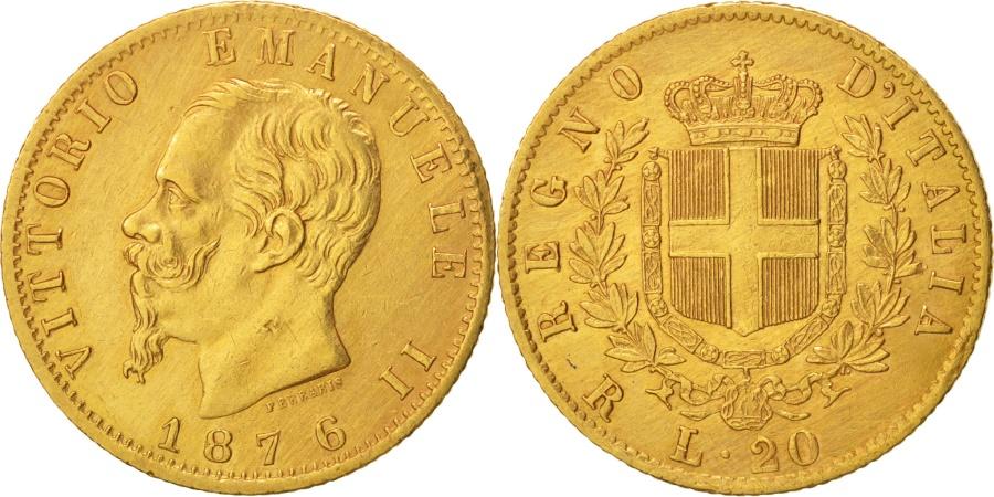 World Coins - Italy, Vittorio Emanuele II, 20 Lire, 1876, Rome, , Gold, KM:10.2