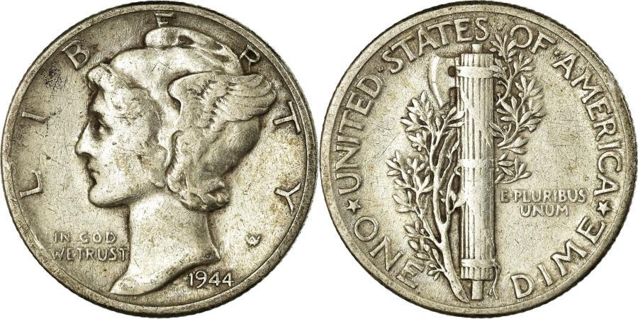 US Coins - Coin, United States, Mercury Dime, Dime, 1944, U.S. Mint, Philadelphia
