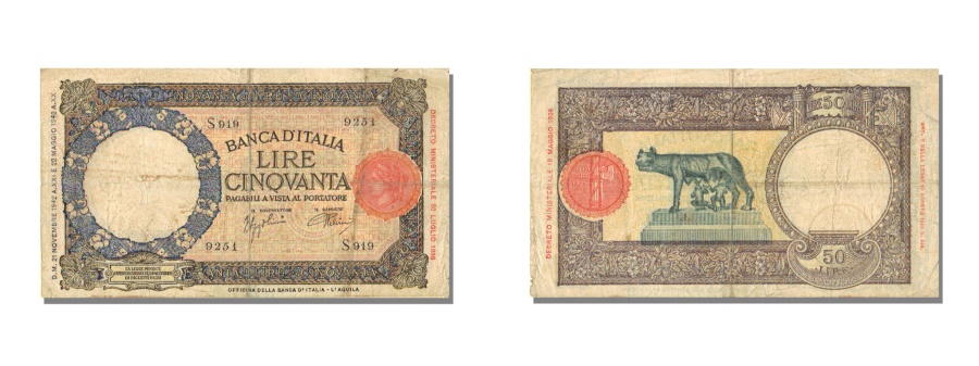 World Coins - Italy, 50 Lire, 1942, KM #58, 1942-11-21, EF(40-45), S 919