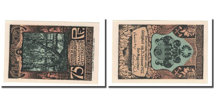 World Coins - Banknote, Germany, Celle, 75 Pfennig, Blason, 1922, UNC(63), Mehl:226.4