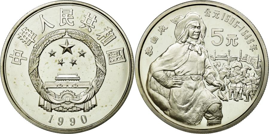 World Coins - Coin, CHINA, PEOPLE'S REPUBLIC, 5 Yüan, 1990, MS(65-70), Silver, KM:310