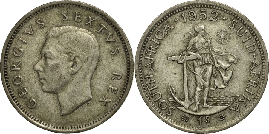 South Africa George Vi Shilling 1952 Silver Km 37 2