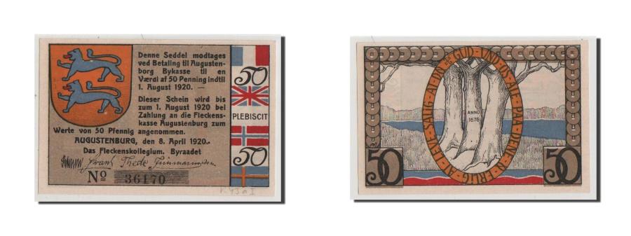 World Coins - Germany, Augustenburg, 50 Pfennig, 1920, AU(55-58), 36170, Mehl #54.1