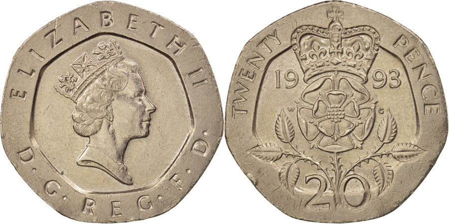 World Coins - Great Britain, Elizabeth II, 20 Pence, 1993, , Copper-nickel, KM:939