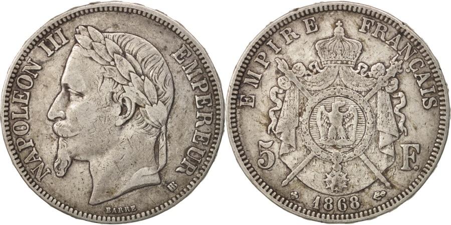 World Coins - France, Napoléon III, 5 Francs, 1868, Strasbourg, , Silver, KM:799.2