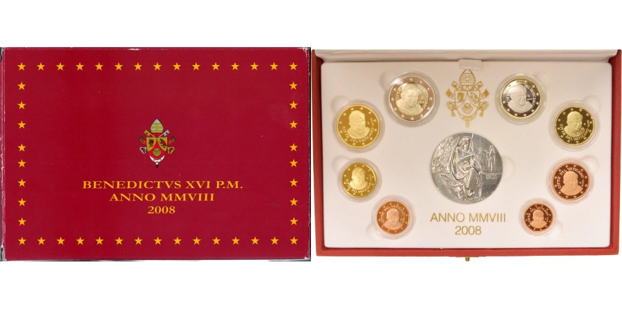 World Coins - VATICAN, 1 Cent to 2 Euro, 2008, Proof Set,