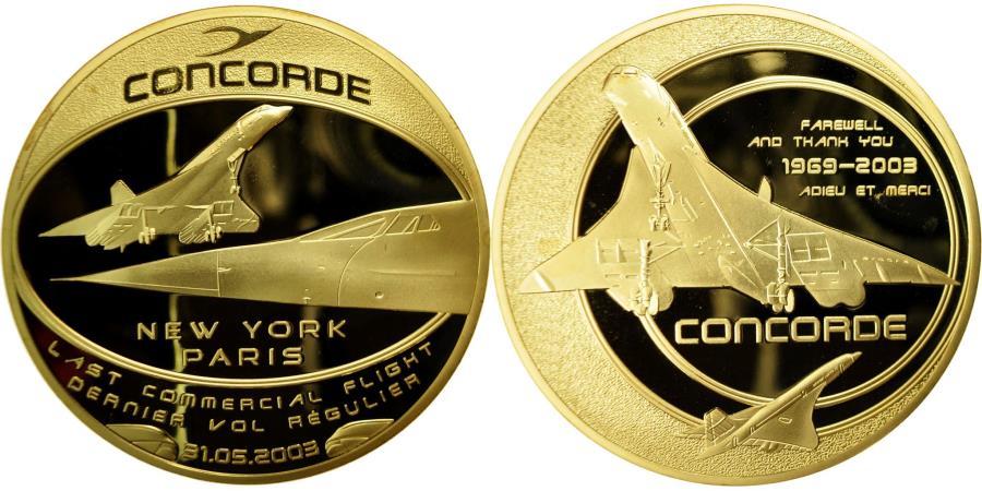 World Coins - France, Medal, Adieu au Concorde, Dernier Vol New-York/Paris, 2003,