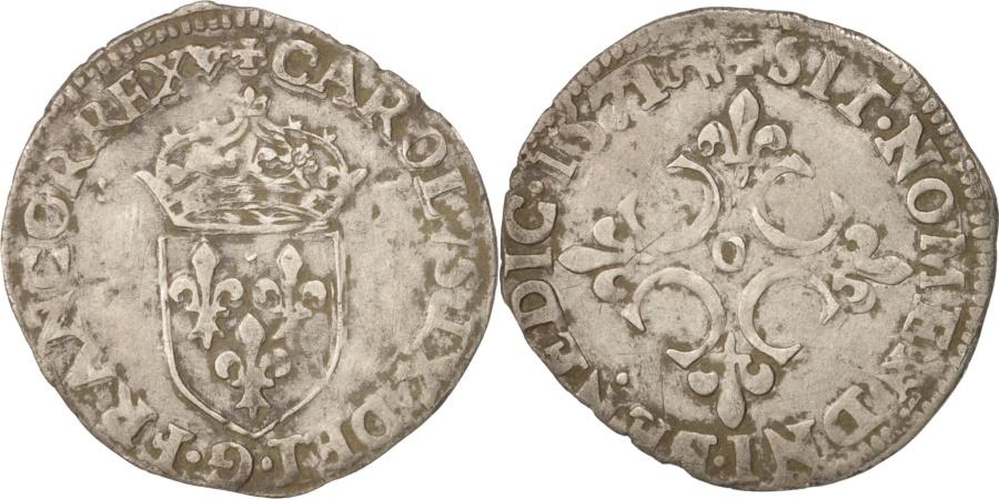 World Coins - France, Charles IX, Sol Parisis, 1571, Riom, , Silver, Sombart:4460