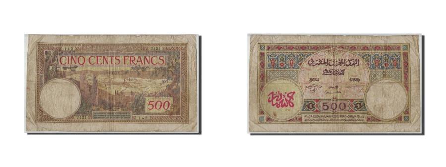 World Coins - Morocco, 500 Francs, 1946, KM:15b, 1946-05-03, VG(8-10)