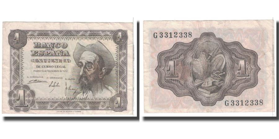 World Coins - Banknote, Spain, 1 Peseta, 1951, 1951-11-19, KM:139a, EF(40-45)