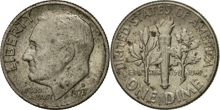 US Coins - Coin, United States, Roosevelt Dime, Dime, 1973, U.S. Mint, Denver,