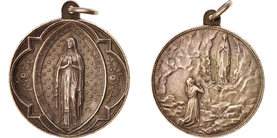 World Coins - France, Medal, The Virgin, Lourdes, Religions & beliefs, XXth Century