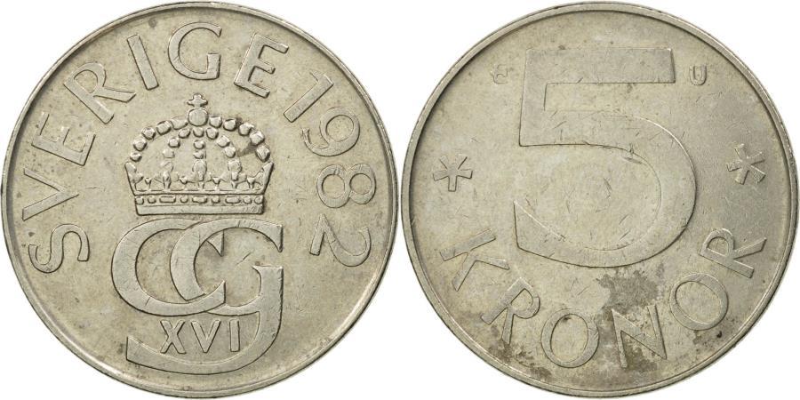 World Coins - Coin, Sweden, Carl XVI Gustaf, 5 Kronor, 1982, , Copper-nickel, KM:853