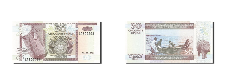 World Coins - Burundi, 50 Francs, 1993-1997, KM:36c, 2001-08-01, UNC(65-70)