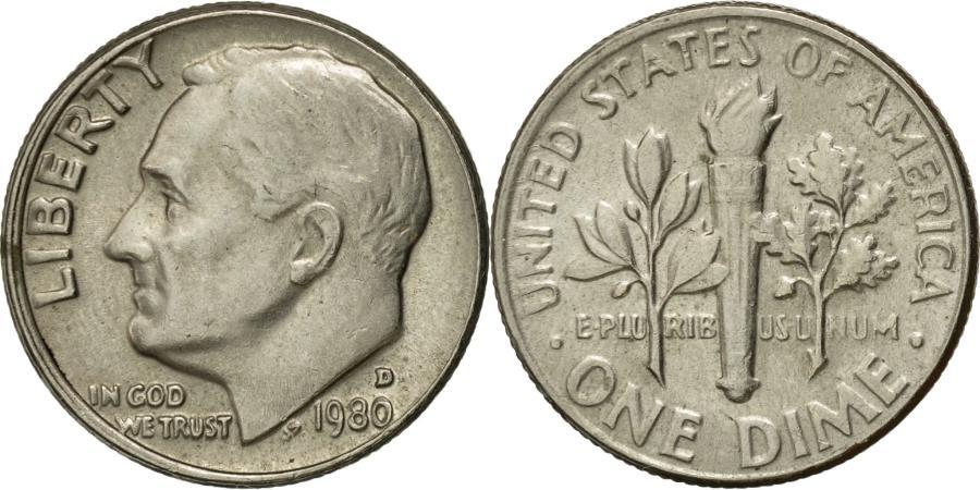 US Coins - Coin, United States, Roosevelt Dime, Dime, 1980, U.S. Mint, Denver,