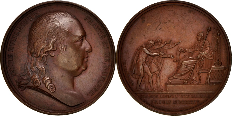 World Coins - France, Charte Constitutionnelle, Louis XVIII, History, Medal, 1814,