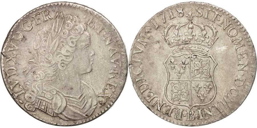 World Coins - France, Louis XV, Écu de France-Navarre, 1718 B, Rouen, Silver, KM:435.3