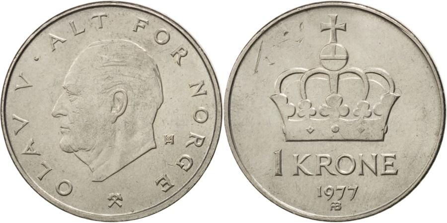 World Coins - NORWAY, Krone, 1977, KM #419, , Copper-Nickel, 25, 6.99