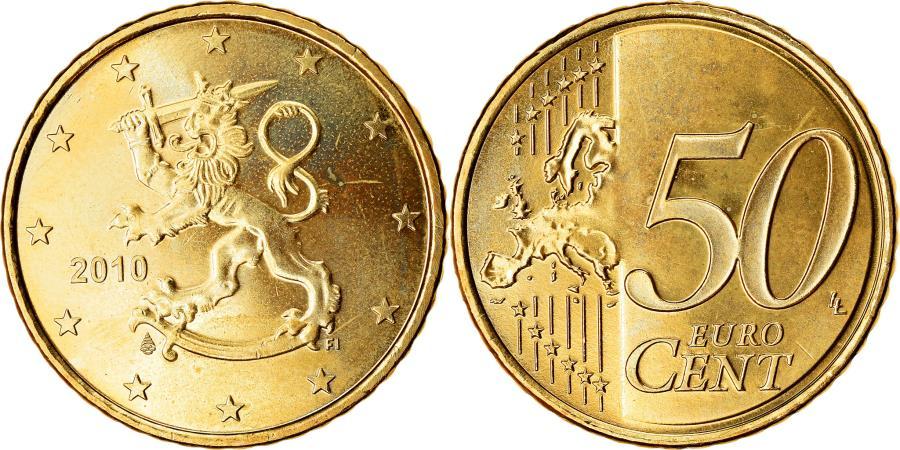 World Coins - Finland, 50 Euro Cent, 2010, , Brass, KM:128