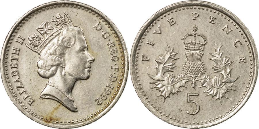 1992 British Queen Elizabeth II 5 Pence Silver Coin Hinged Bracelet