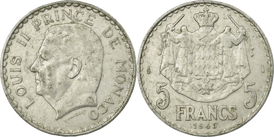World Coins - Coin, Monaco, Louis II, 5 Francs, 1945, , Aluminum, KM:122
