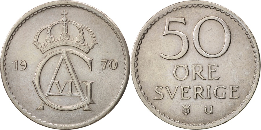 World Coins - Sweden, Gustaf VI, 50 Öre, 1970, , Copper-nickel, KM:837