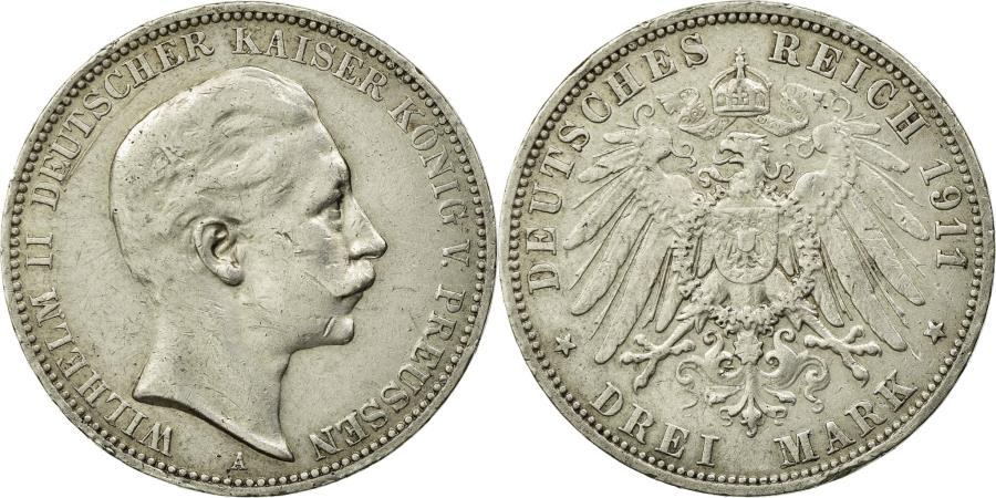 World Coins - Coin, German States, PRUSSIA, Wilhelm II, 3 Mark, 1911, Berlin, EF(40-45)