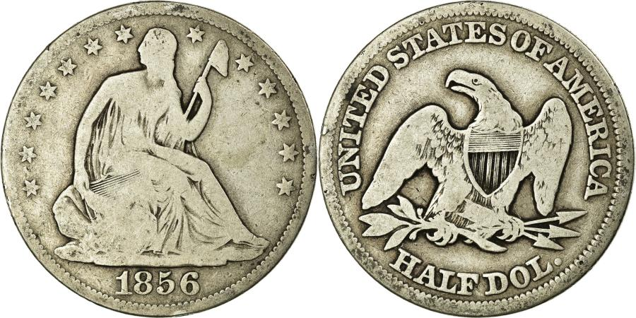 US Coins - Coin, United States, Seated Liberty Half Dollar, Half Dollar, 1856, U.S. Mint