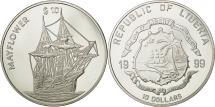 World Coins - Liberia, 10 Dollars, 1999, MS(63), Silver, KM:468