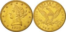 Us Coins - United States, Coronet Head, $10, Eagle, 1907, Denver, MS(63), Gold, KM:102