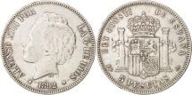 Spain, Alfonso XIII, 5 Pesetas, 1892, Madrid, EF(40-45), Silver, KM:700