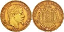 World Coins - France, Napoleon III, 100 Francs, 1866, Strasbourg, Gold, KM:802.2