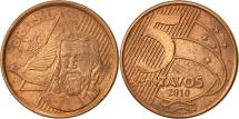 World Coins - Brazil, 5 Centavos, 2010, EF(40-45), Copper Plated Steel, KM:648