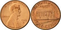 Us Coins - United States, Lincoln Cent, Cent, 1989, U.S. Mint, Denver, AU(50-53), Copper