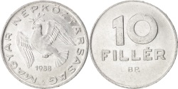 World Coins - HUNGARY, 10 Filler, 1988, Budapest, KM #572, , Aluminum, 18.5, 0.65