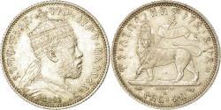 World Coins - Coin, Ethiopia, Menelik II, 1/4 Birr, EE 1887 (1894), Paris, , Silver